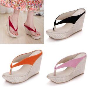f77bebc41c9860 Summer Women s Boho Sandals Wedge High Heels Slipper Flip Flops ...