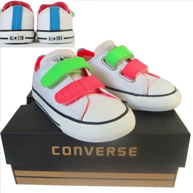 3bdc8f48bd4d Infants Boys Girls CONVERSE All Star WHITE NEON 2 STRAP Trainers Shoes UK  SIZE 8