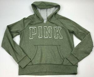 PINK-Victoria-039-s-Secret-SAGE-Green-WOMEN-039-S-Sweatshirt-PULLOVER-Hoodie-Spellout-L