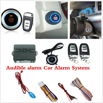 12V Car Engine Ignition Start Push Button Audible Alarm Remote Security System