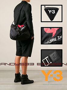 350 adidas Y-3 Yohji Yamamoto Messenger Shoulder Bag Men Black ... 5835c2bb8d3a1