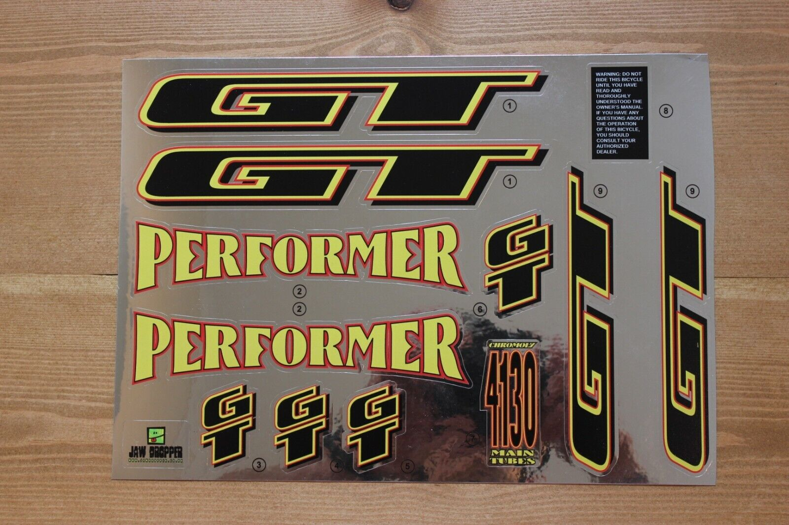 Reproduction 1995 GT Performer Bmx Decal Set-Cromo del forro
