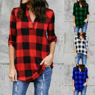 Women/'s Ladies V-Neck Plaid T Shirt Tops Casual Long Sleeve Blouse Tee Plus Size