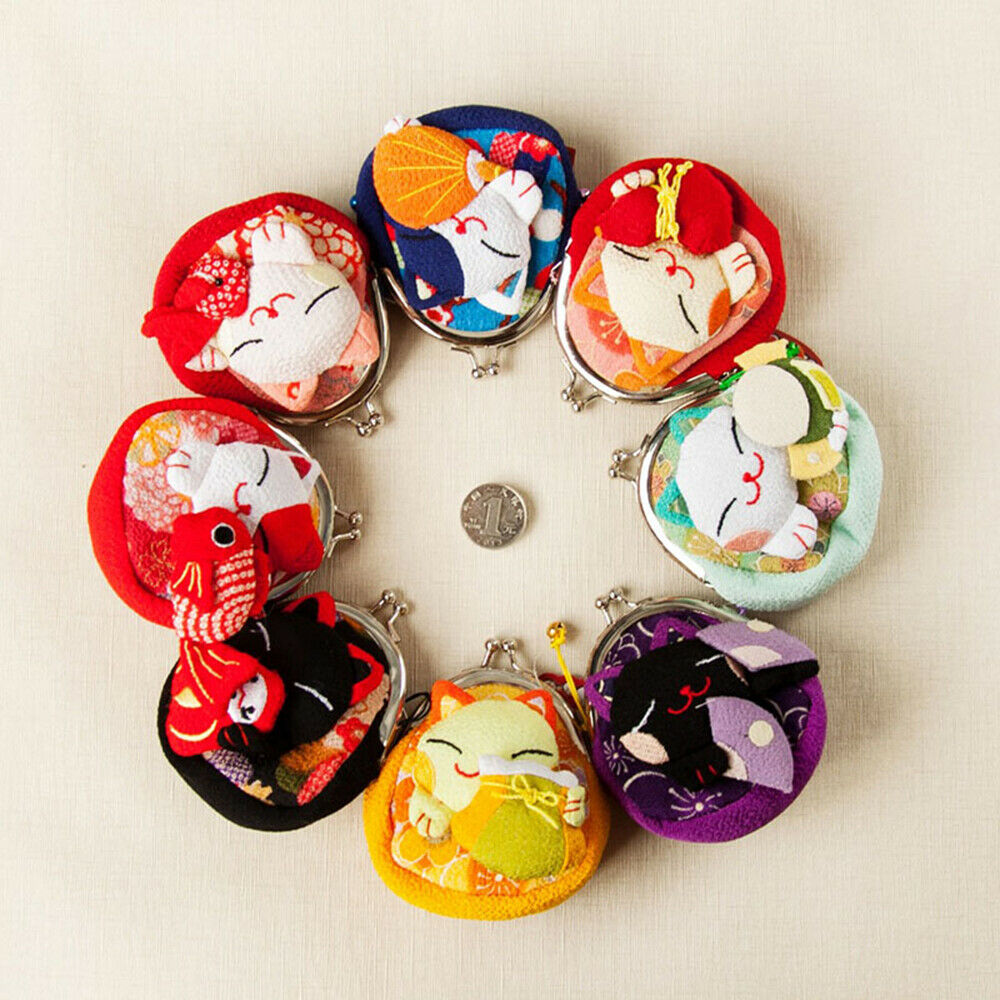 Baby Girl Japanese Lucky Cat Cartoon Wallet Kimono Fabric Coin Purse Bag
