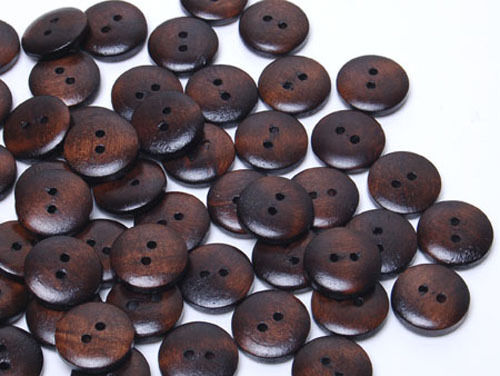 MB373 Wooden Gloss Sewing Wood Buttons Sewing Craft Art  DIY 15mm 100pcs