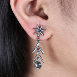 Blue-Sapphire-Pave-Diamond-Sterling-Silver-Dangle-Star-Shape-Earrings-Jewelry