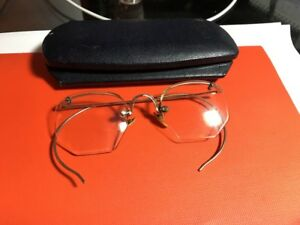 dd841fca4c20 Image is loading Antique-Shuron-rimless-eyeglasses-with-12k-gold-filled-