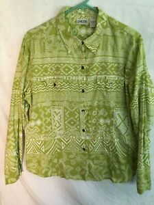 Chico-039-s-Tribal-Designs-Button-Front-Long-Sleeve-Shirt-2-M
