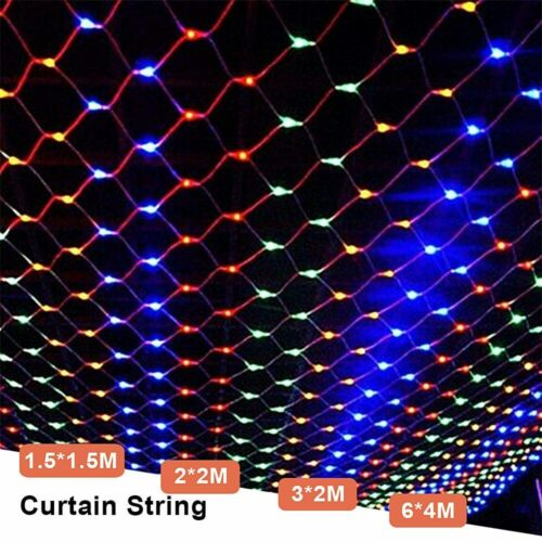 LED String Fairy Lights Curtain Net Mesh Waterproof Christmas Tree Party Outdoor