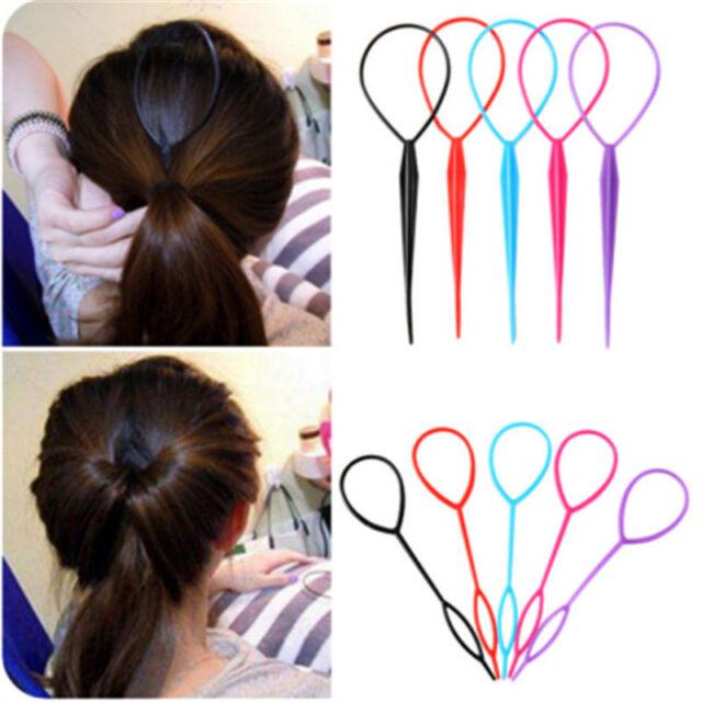 Women Plastic Topsy Tail Hair Braid Ponytail Styling Tool Black Maker Clip Girls