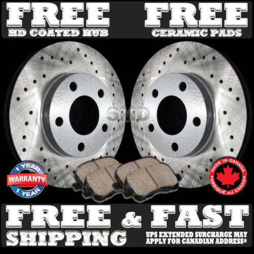 FRONT SET P0356 COATED HUB Cross Drilled Brake Rotors /& FREE Ceramic Pads