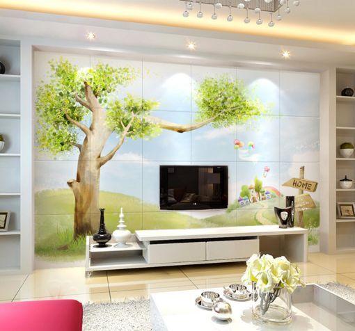 3D Hoher Baum, Haus 2656 Fototapeten Wandbild Fototapete BildTapete FamilieDE