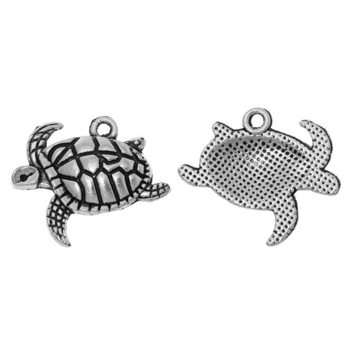 5 pieces Pendants Dangle Charms Silver tone Sea Turtle jewelry findings DIY S151