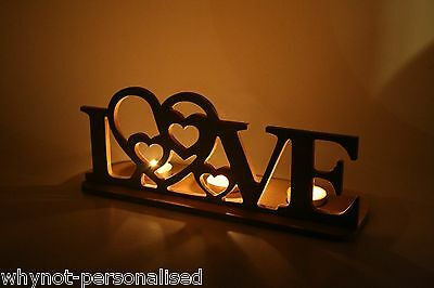 Love tea light holder - perfect gift or decoration - UNPAINTED - WhyNot?