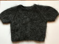 Anna Sui Cropped Mohair Fuzzy Sweater Short Sleeve Top, Size L