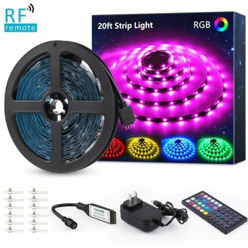 Novostella RGB 20ft 5050 LED Strip Tape Lights Kit RF Remote Flexible Dimmable