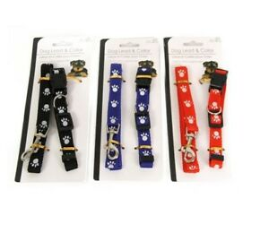 Small-Dog-Puppy-Collar-and-Lead-Leash-Set-in-3-Colours-Adjustable-Paw-Design