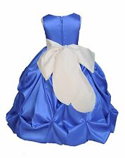 PRINCESS ROYAL BLUE FLOWER GIRL DRESS SATIN TAFFETA WEDDING FORMAL PAGEANT KIDS