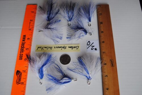 8 Tied Bucktail Dressed Treble Hooks Size 2//0 BLUE TINSEL FLASH WHITE FEATHER