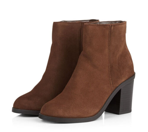 RRP £40 WOMENS NEW LOOK SIZE 4 5 6 7 9 TAN REAL LEATHER TRANSVESTITE ANKLE BOOTS