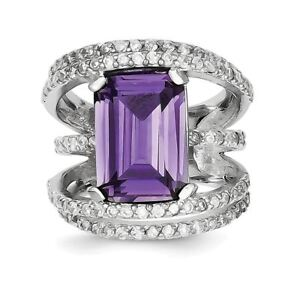 .925 Sterling Silver Purple & Clear Cz Ring G6tv0y3t-07213249-477053148