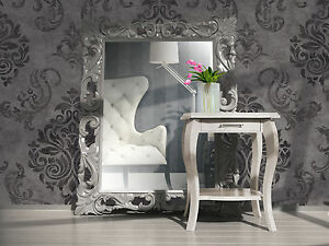 Vlies Tapete Barock Muster Ornament Anthrazit Grau Silber Glitzer