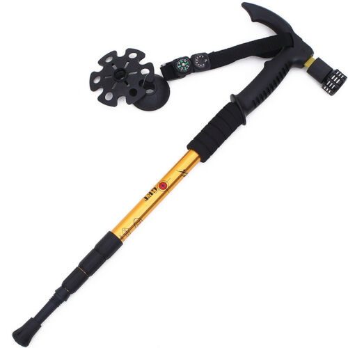 Adjustable Walking Stick With Led Light And Compass,Alpenstock,Hiking Trekking