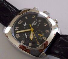 LOCMAN Mid Size 1970 Black Quartz Chronograph w Black Leather