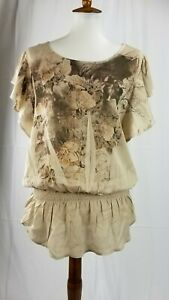 Dressbarn-Womens-Size-Medium-M-Blouse-brown-floral-Peasant-Top-short-sleeve-rose