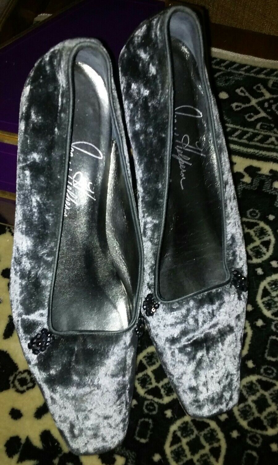 Joan Helpern Signature Collection GRAY Crushed Velvet flats schuhe Größe 6.5