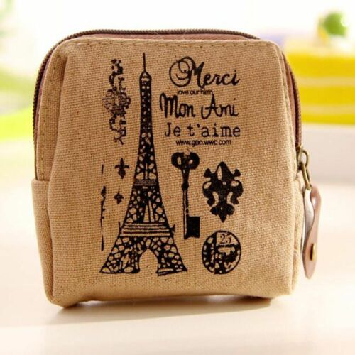 Cute New Women Lovely Mini Zipper Wallet Card Case Canvas Coin Bag Purse Bags