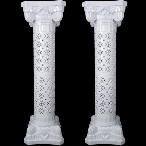 White Plastic Roman Pillar Wedding Columns w Lights Garden Venue Decorations Set