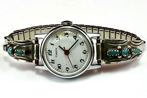 CPH-Sterling-Silver-Signed-Navajo-Turquoise-925-Tips-Timex-Watch