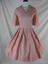 Vtg 50s 60s Red Cotton Full Skirt Womens Vintage Party Dress W 28