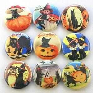 Halloween vtg postcard magnet pin badge button cab charm gift bag party favor