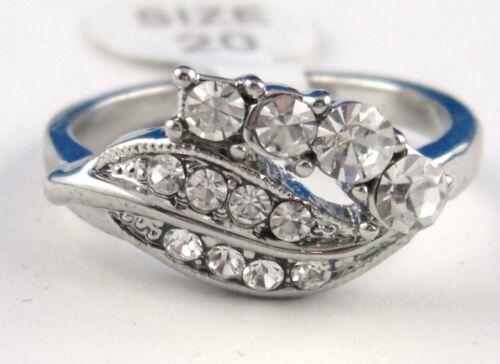 B50 Funkelnder Ring künstlicher Brillant Effekt dreireihiges Blatt Design