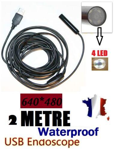 Endoscope USB couleur et étanche-Câble de 2M-Mini DV caméra espion avec LED