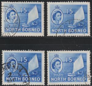 NORTH-BORNEO-1954-QE-II-PICTORIAL-DEFINITIVE-15cX4-FINE-USED