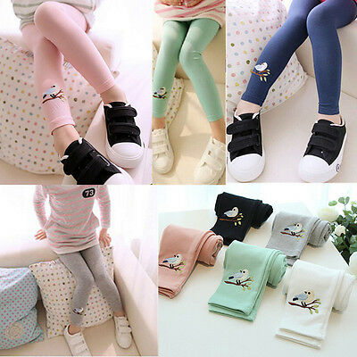 Toddler Kids Girls Baby Cotton Pants Bird Pattern Stretch Warm Leggings Trousers
