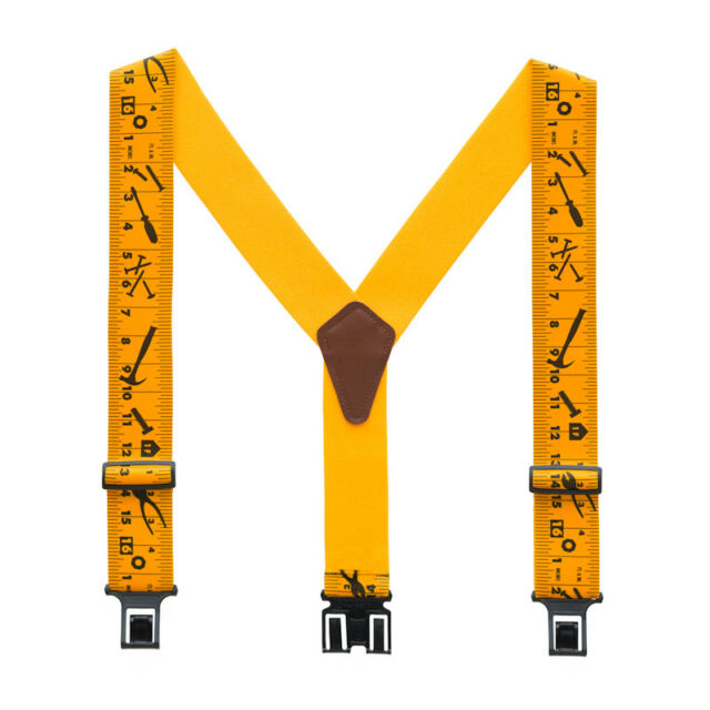 Kajeer Mens Adjustable Suspenders Buttons Leather End Elastic Y-Back Tuxedo Braces