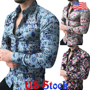 Fashion-Men-039-s-Slim-Fit-Casual-Long-sleeve-Floral-Print-Shirt-Muscle-Tops-Blouse
