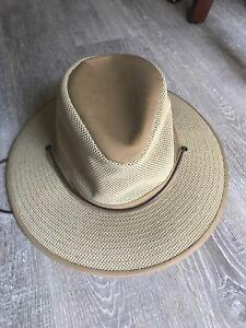 311a5b9e0 Henschel Men's Packable Aussie Breezer Khaki Safari Hat Beige Vented ...