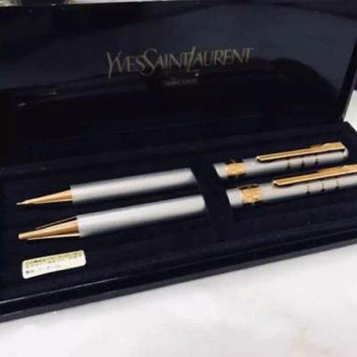 Yves Saint Laurent Ballpoint Pen and Mechanical Pencil Silver with Case