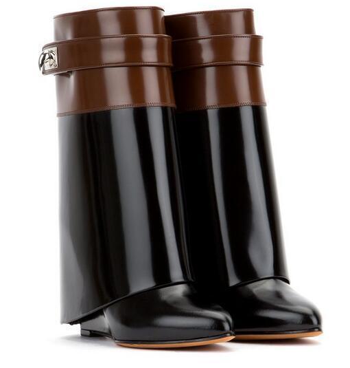 Femmes Compensé Talon Haut en Cuir Véritable Bottes Mi-mollet en métal décor Fermeture Éclair Chaussures SZ