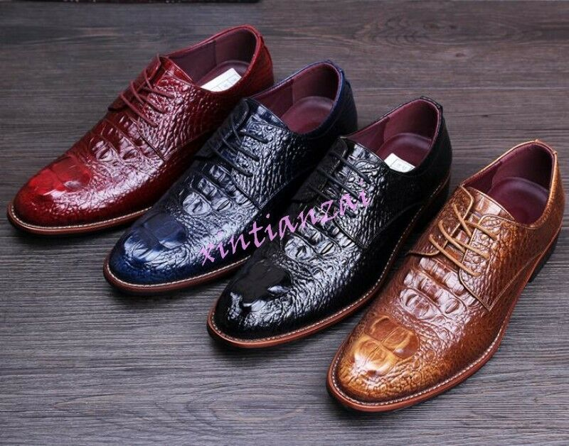 Mens Vintage Lace Up Pointy Toe Leather Alligator Pattern Wedding Dress shoes