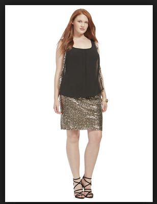NEW CITY CHIC BLACK GOLD SEQUIN SISTER DRESS PLUS SIZE SMALL S 16 | eBay