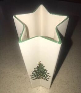Details About Vintage Spode Christmas Tree Vase Star Shape Holly Made In England S3324 A1