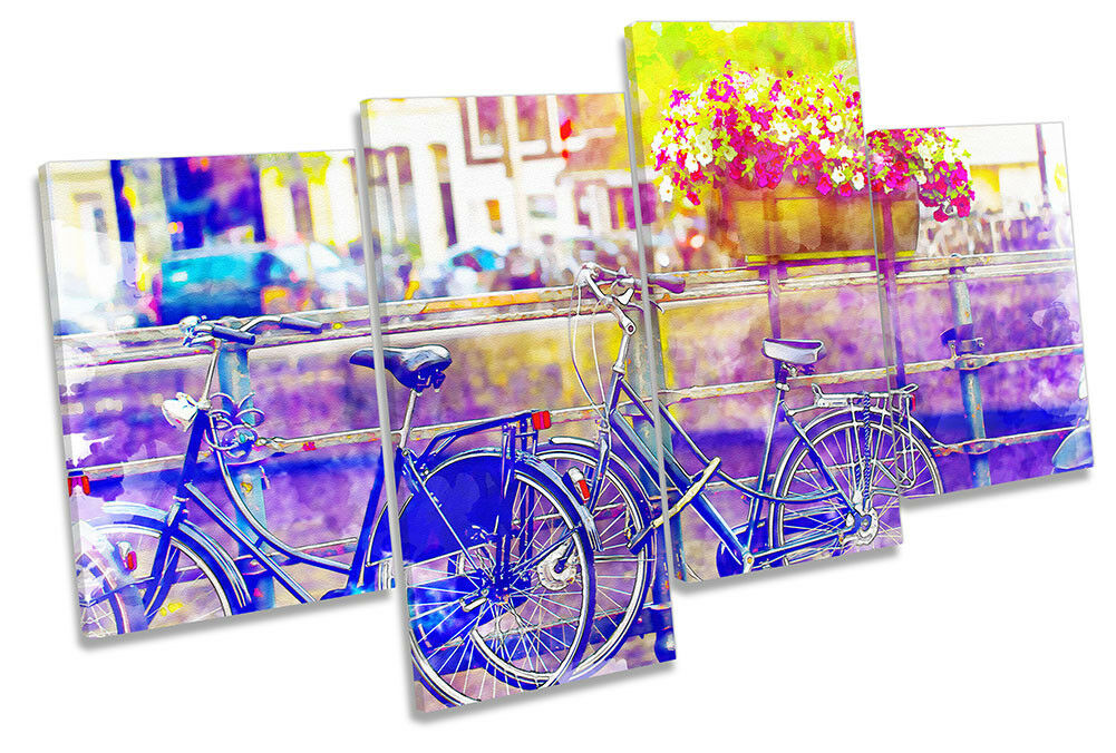 Ciudad de bicicleta de de bicicleta Amsterdam acuarela enmarcado impresión de múltiples LONA pa rojo  arte 4a5f4e