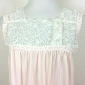 Vintage-COLONY-CLUB-Nightgown-Pink-Nylon-White-Embroidered-Lace-Sleeveless-Small