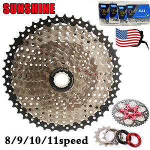 SUNSHINE-6-7-8-9-10-11Speed-MTB-Bike-Cassette11-40-42-46-50-KMC-Chain-Derailleur